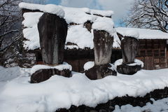 Het Shirakawago-dorp in de winter, Japan Stock Fotografie