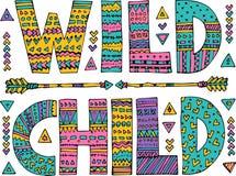 Het sier Wilde Kind van letters voorzien royalty-vrije illustratie