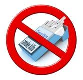 Het sigarettenpak en houdt op rokend Teken Stock Afbeelding