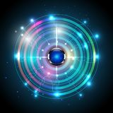 Het signaal van de heelalgolf en knopen abstracte achtergrond Stock Afbeelding