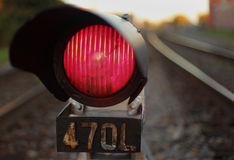 Het Signaal van de Trein van het rood licht Stock Afbeeldingen