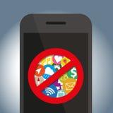 Het Signespictogram gebruikt niet op mobiele telefoon Royalty-vrije Stock Afbeelding
