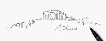 Het silhouet Athene van de penlijn royalty-vrije illustratie