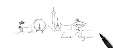 Het silhouet las vegas van de penlijn vector illustratie