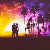 Het Silhouet Retro Uitstekende Stijl van het zonsondergangpaar Stock Afbeelding