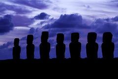 Het Silhouet van Ahutongariki royalty-vrije stock foto's