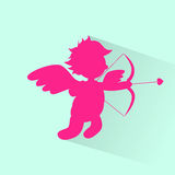 Het Silhouet van Angel With Bow Arrow Cupid van Valentine Stock Foto's