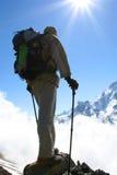 Het silhouet van Backpackers Stock Foto