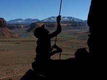 Het silhouet van Belayer Stock Foto's
