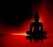 Het silhouet van Boedha tegen rode achtergrond Royalty-vrije Stock Fotografie