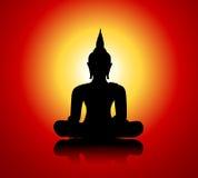 Het silhouet van Boedha tegen rode achtergrond Royalty-vrije Stock Afbeeldingen