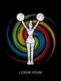 Het silhouet van CheerleaderStanding royalty-vrije illustratie