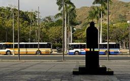Het silhouet van Damien van de vader en busvervoer royalty-vrije stock afbeeldingen