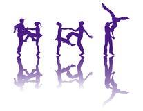 Het silhouet van dansers Royalty-vrije Stock Afbeeldingen