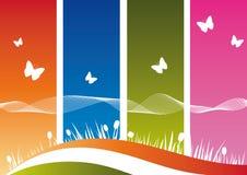 Het Silhouet van de aard op Kleurrijke Achtergrond Royalty-vrije Stock Afbeelding