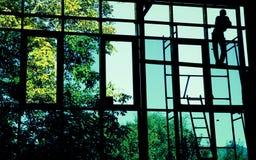 Het silhouet van de arbeider royalty-vrije stock foto