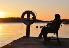 Het silhouet van de archipel Stock Foto