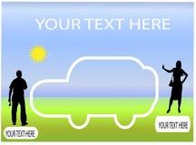 Het silhouet van de auto met mensensilhouetten Royalty-vrije Stock Foto