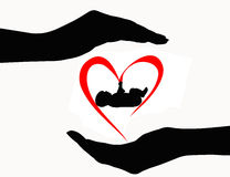 Het silhouet van de babyzorg Royalty-vrije Stock Fotografie