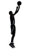 Het silhouet van de basketbalspeler Royalty-vrije Stock Afbeeldingen