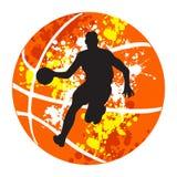 Het silhouet van de basketbalspeler op de abstracte achtergrond Royalty-vrije Stock Foto