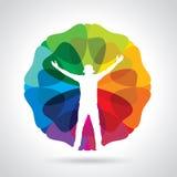 Het silhouet van de bedrijfsmensenillustratie met zijn wapens die omhoog van zijn succes over een kleurrijke achtergrond genieten Stock Afbeeldingen