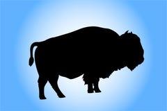 Het silhouet van de bizon Stock Afbeeldingen