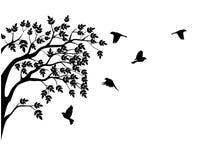 Het silhouet van de boom met vogel het vliegen Royalty-vrije Stock Afbeelding