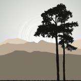 Het silhouet van de boom op een abstracte achtergrond Royalty-vrije Stock Foto