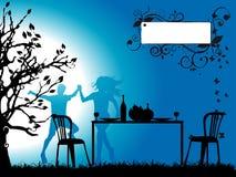 Het silhouet van de boom, romantische dinn Royalty-vrije Stock Afbeelding