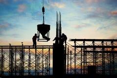 Het silhouet van de bouw Stock Foto