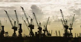 Het silhouet van de bouw van kranen Stock Foto