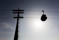 Het silhouet van de cabinelift Royalty-vrije Stock Foto's