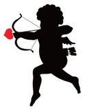 Het silhouet van de Cupido Royalty-vrije Stock Afbeeldingen