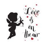 Het silhouet van de cupidoliefde met boog en pijl en Liefde Stock Foto's