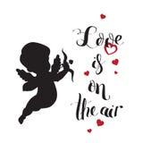 Het silhouet van de cupidoliefde met boog en pijl en Liefde Royalty-vrije Stock Foto's