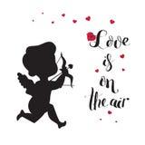 Het silhouet van de cupidoliefde met boog en pijl en Liefde Stock Afbeelding
