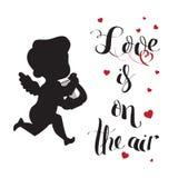Het silhouet van de cupidoliefde met harp en Liefde is op de lucht Stock Foto