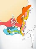 Het Silhouet van de danser met de Nota's van de Muziek Stock Fotografie