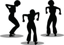 Het silhouet van de dansersvrouw Stock Foto's