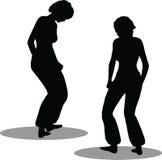 Het silhouet van de dansersvrouw Royalty-vrije Stock Afbeelding