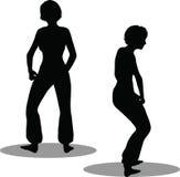 Het silhouet van de dansersvrouw Stock Foto