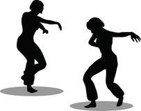 Het silhouet van de dansersvrouw Stock Afbeelding