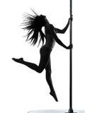 Het silhouet van de de pooldanser van de vrouw Royalty-vrije Stock Afbeeldingen