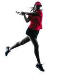Het silhouet van de de spelerdroefheid van het vrouwentennis Stock Foto
