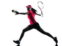Het silhouet van de de spelerdroefheid van het vrouwentennis Stock Afbeeldingen
