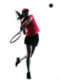 Het silhouet van de de spelerdroefheid van het vrouwentennis Royalty-vrije Stock Afbeelding