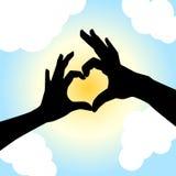 Het silhouet van de de vormhand van de liefde Stock Foto