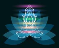 Het silhouet van de de vrouwenlotusbloem van de yogameditatie Stock Fotografie