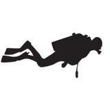 Het silhouet van de duiker. stock illustratie